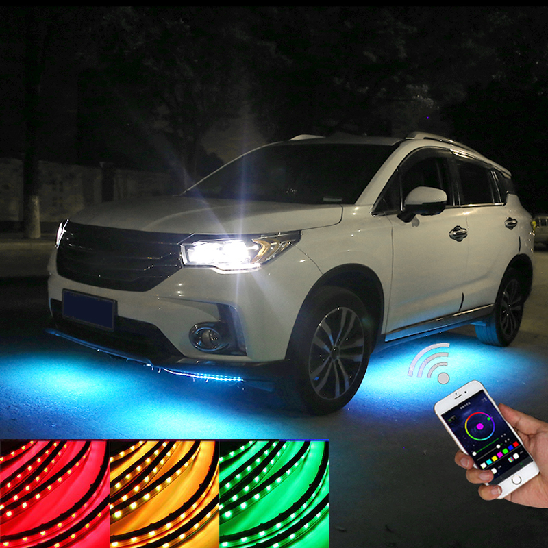 4x Rhythmic RGB LED Tube Neon Strip Lights Kit Under Car Underglow Underbody