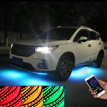 Niscarda 4x APP zdalnie sterowanym samochodowym światłem pod blaskiem wodoodporna lampa samochodowa do stylizacji tuby podwodnej lampa neonowa tanie i dobre opinie NONE CN (pochodzenie) Lampa atmosfera 5050 LED 2*60cm 2*90cm 2*90cm 2*120cm ALL CAR