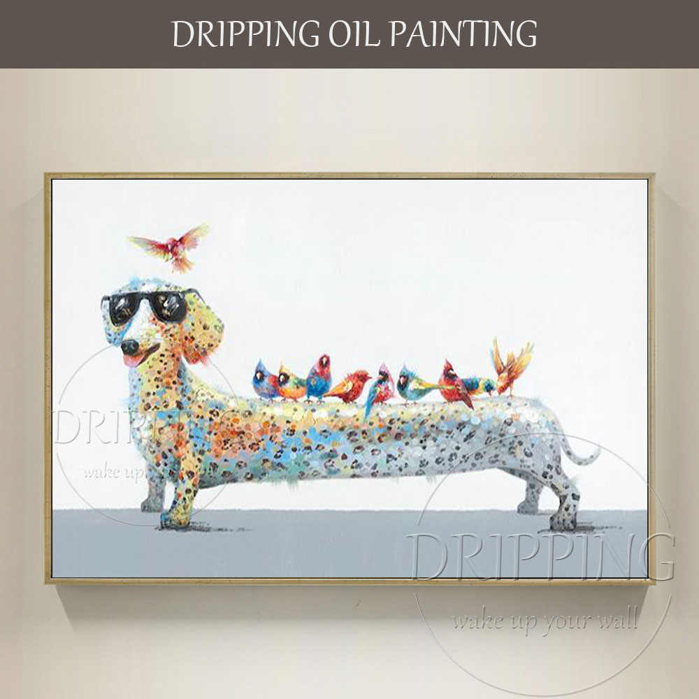 Hot Selling Artist Hand-painted High Quality Funny Dog Dachshund Oil Painting on Canvas Funny Dachshund and Birds Oil Painting