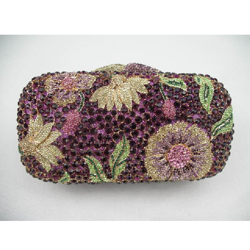 ФОТО 8122 Dark Purple Floral Flower Crystal Bridal Party Night Hollow Metal Evening purse clutch bag case box handbag