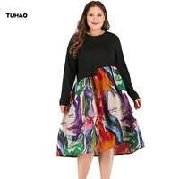 TUHAO 2019 Spring Dress Woman XXXL Plus Size Print Splicing Dress Vestidos Long Sleeve Office Casual Dresses Female YQ01