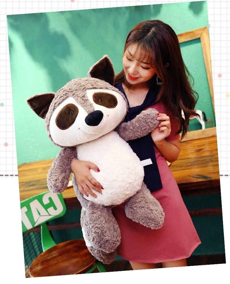 Nouveau style mignon raton laveur en peluche jouet grand 60 cm dessin animé raton laveur doux poupée jeter oreiller cadeau d'anniversaire w2148