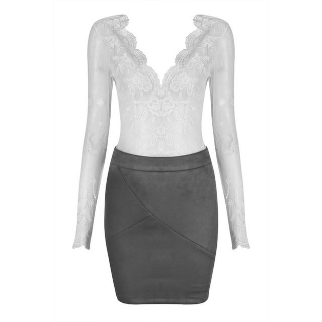 04a4886c67b 2017 New Fashion Hot 2 Piece Suede Set Lace Top Women Bodycon Top Sets  Wholesale HL