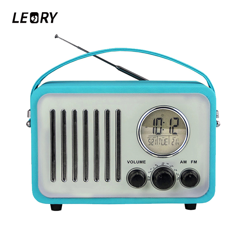 LEORY Portable AM / FM Radio Wireless Bluetooth Digital Alarm Clock Display Radio With Stereo Speaker Support USB TF For iPhone portable bluetooth speaker column wireless stereo soundbox mic support time fm clock radio alarm led speaker for laptop phone