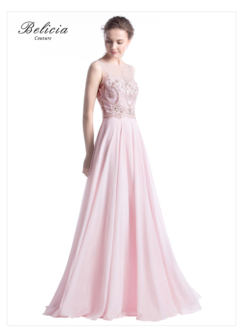 02ef6de06d8da US $279.0 |Belicia Couture 2017 Elegant Evening Dress Slight Boat Neckline  Sheer Back Long Chiffon Beading Lace Formal Evening Gowns Pink-in Evening  ...