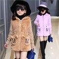 Девушки шерстяные пальто осень зима пальто из искусственного меха лоскутная трикотажные с длинным рукавом письмо карман с капюшоном дети пальто для девочек