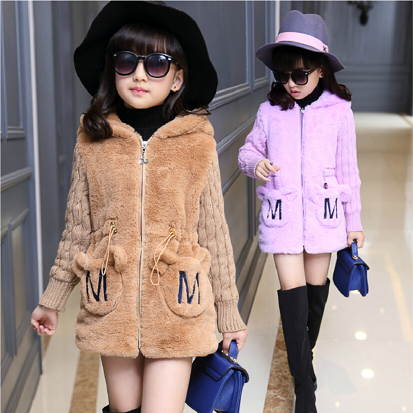 ФОТО Girls wool coats autumn winter coat faux fur patchwork knitted long sleeve letter pocket hooded kids coat for girls
