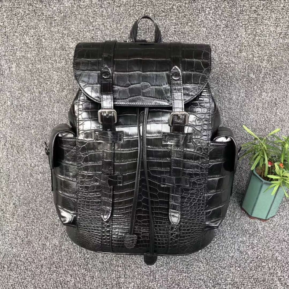 100% luxury solid genuine real crocodile leather belly skin black color backpack daily leisure fashion bag with cow skin lining 100% genuine real crocodile belly skin backpack bag matt water dyeing crocodile skin high end quality fashion backpack bag black