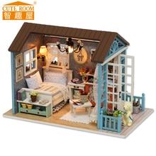 חדר CUTE DIY 3D בית דולאר מיניאטורי בית הבובות עם ריהוט בית מעץ צעצועים לילדים יצירתי מתנה יער כחול זמן