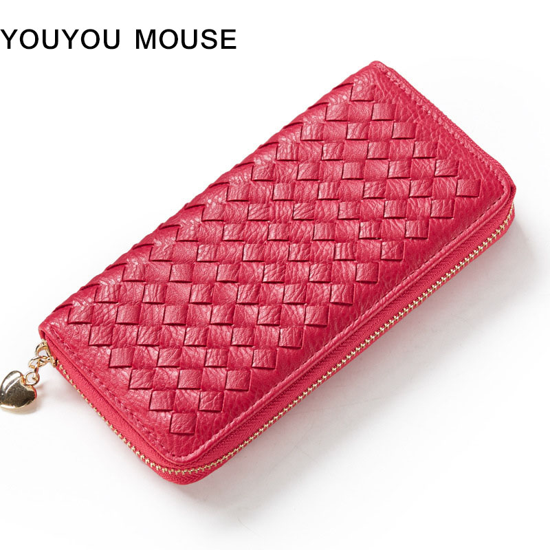YOUYOU MOUSE Fashion Weaving Pattern Women Wallet High Quality PU Leather 3Fold Long Money Purse Large Capacity Lady Wallets youyou mouse high quality women long wallets fashion pu leather money wallet 6 colors lady clutch coin purse card