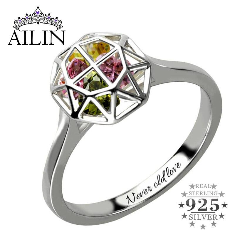 AILIN anneau de Cage personnalisé avec pierres de naissance bague de famille en argent pour la mère anneau de nom de pierre de naissance cadeau pour la mère