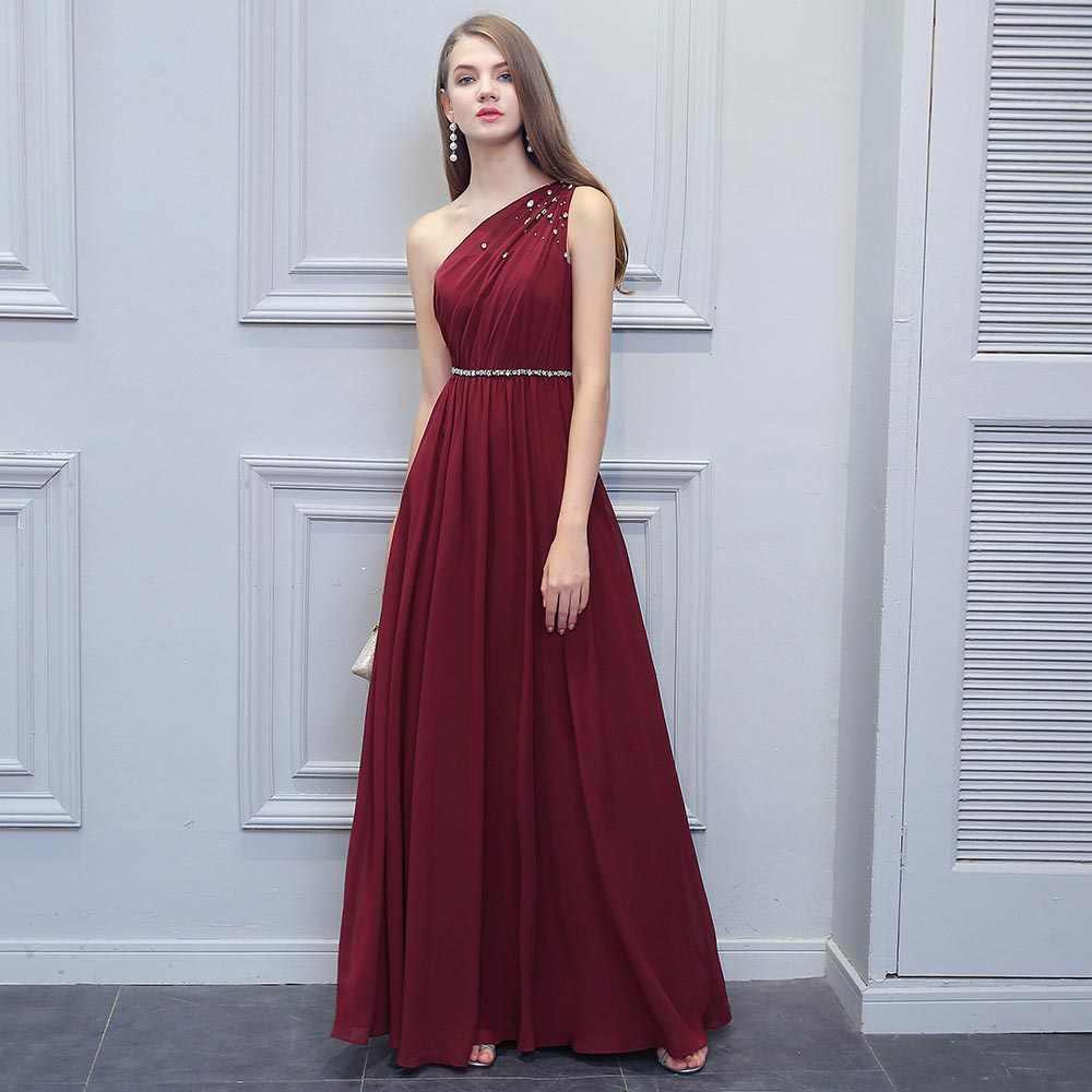 Простое бордовое вечернее платье 2019 темно-Красное Длинное Расшитое бисером платье на одно плечо в пол с поясом со стразами вечерние платья для девушек
