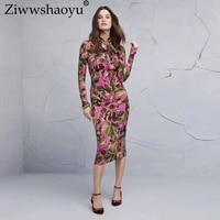 Ziwwshaoyu Europe and America 2018 new fall designer fashion dress Silk Women's Long Sleeve Bow Collar Fig Printed Vintage Dress