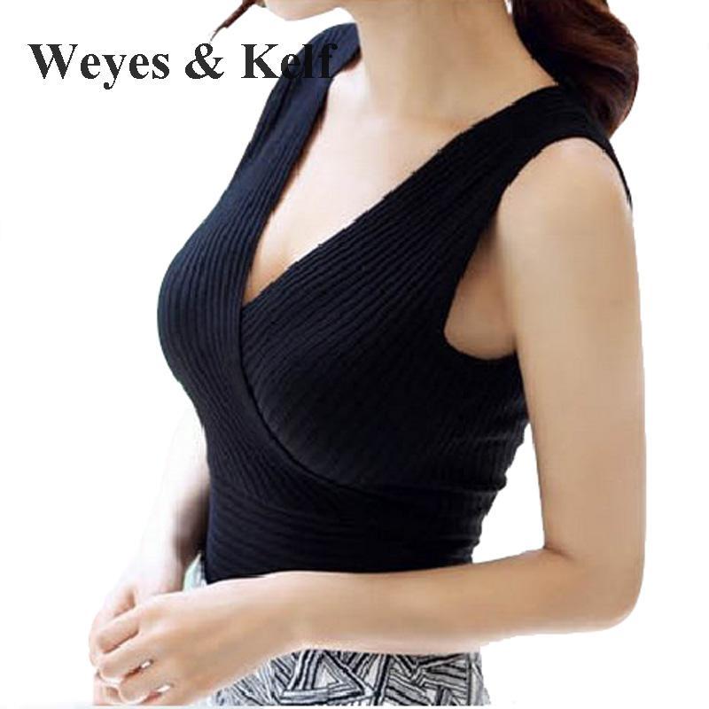 Weyes & Kelf été tricoté sans manches Blouse femmes chemise 2018 gilet femme débardeurs pleins femmes blanc hauts noirs Verano Mujer