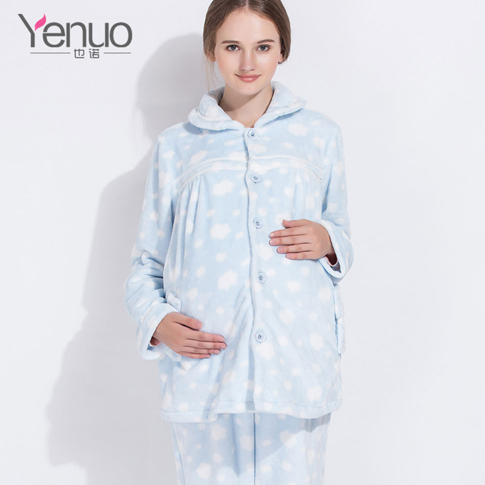 Winter Pregnant Women Sets Warm Pregnancy Nursing Wear Soft Fabric Maternity Breast-Feeding Top Home Pajamas Women Clothes M-XL long sleeve cartoon bear thick flannel maternity clothing pajamas sets breast feeding home wear nightwear factory price