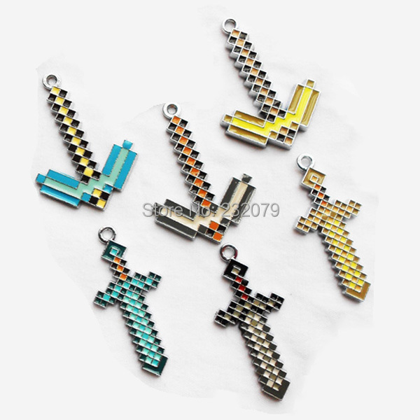 Metal Minecraft Diamond Creeper Sword Pickaxe Model Necklace Keychains Figures Set Kids Baby Toys Boys Children Free - Anime Store store