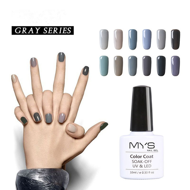 12 Colors MYS Gray Series UV Nail Varnish Gel Polish Nail Gel Polish UV Lamp Needed Nail Beauty For Nail Art