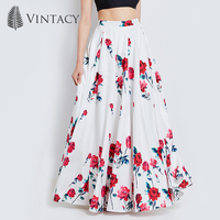Vintacy Long Skirts For Women White Print Floral Red Rose Pleated Maxi Skirts Full Ball Grown