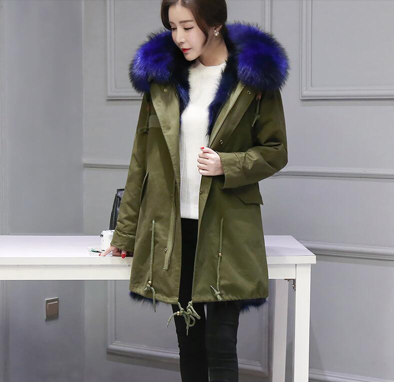 Women Winter Coat 2016 New Army Green Coats Natural Fox Fur Lining Parkas Plus Size Real Raccoon Fur Collar Hooded Jacket Female
