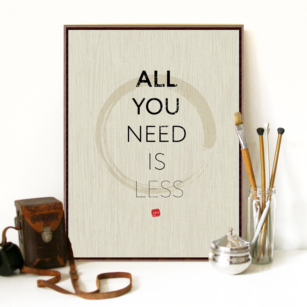 Modern minimalist inspirational life zen quotes a4 large for Poster mural zen deco