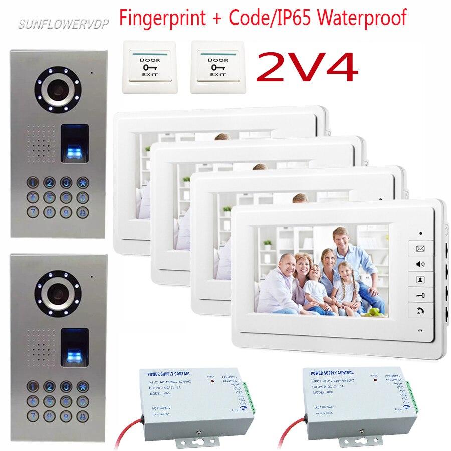 SUNFLOWERVDP Fingerprint Keypad Video Door Phone Wired 2 Door 4 Apartment Door Intercom 7