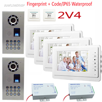 SUNFLOWERVDP Fingerprint Keypad Video Door Phone Wired 2 Door 4 Apartment Door Intercom 7 Color Monitors