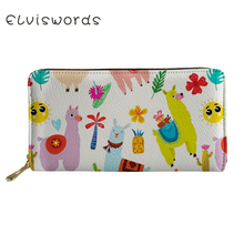 ELVISWORDS Cute Alpacos Printed Wallets&Purse Women Cash Wallet Ladies Luxury Design Phone Holders for Females Clutch Coin Purse