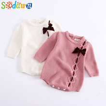 Sodawn 2020 Autumn Winter New Children Clothes Baby Girls Clothes Knit Clothes Bows Jumpsuit Long-Sleeved Romper Baby Clothes cheap So dawn Polyester COTTON Fashion O-Neck Sets Pullover Full REGULAR Fits true to size take your normal size Worsted 90 Cotton