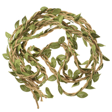 2M DIY Artificial Leaves Twine Wax String With Leaf Silk Leaves Flowers Garlands Hemp Rope Wedding Party Decoration