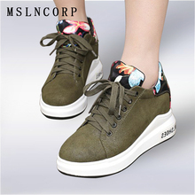 plus size 34-43 New Spring Autumn Women Shoes Creepers Casual Woman Round Toe Flats High Top  Platform Fashion Lace-Up Embroider цена