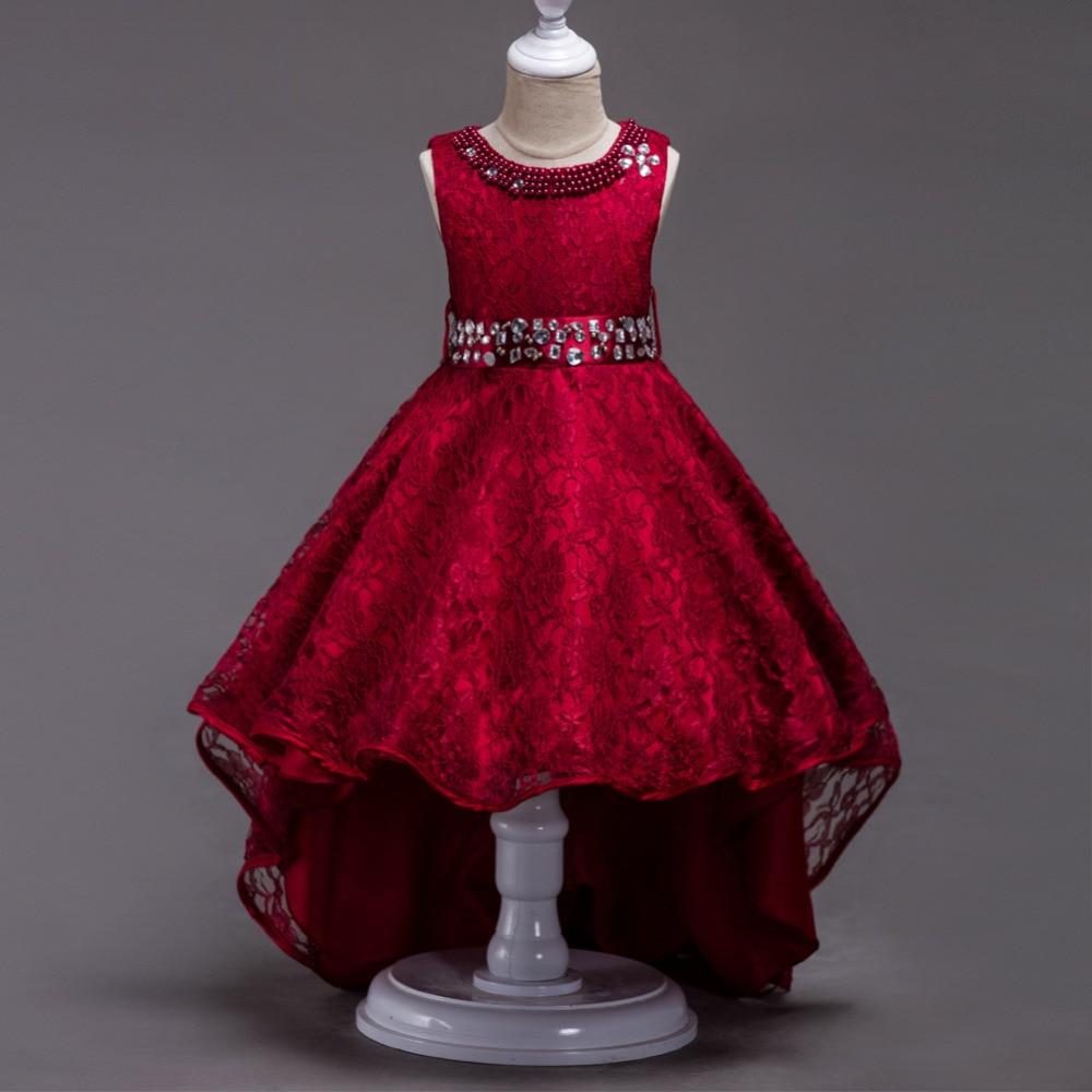 New Girls Diamond Tailing Lace Dresses Princess Vestidos Infantis Costume Fever Wedding Birthday Frocks For 4 6 8 10 12 14 Years