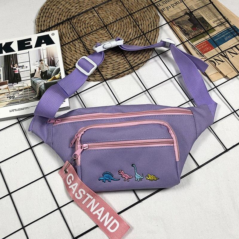 Cute Cartoon Dinosaur Embroidery Waist Bags For Women Hip Hop Ladies Street Chest Fanny Pack Fashion Girl Mobile Harajuku Pocket
