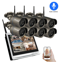 Techage 1080P WIFI CCTV Camera Kit 12 Inch LCD Monitor Wireless NVR System 2MP HD Audio Sound P2P Video Surveillance Set 2TB HDD