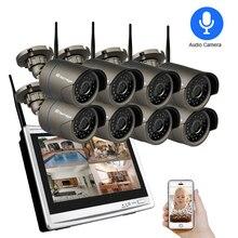 Techage 1080P WIFI CCTV IP Camera 12 Inch LCD Monitor Draadloze NVR Systeem 2MP HD Audio Sound P2P Video CCTV Surveillance Kit Set
