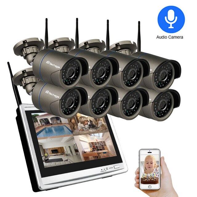 Techage 1080P del CCTV di WIFI IP Della Macchina Fotografica 12 Pollici Monitor LCD Wireless NVR Sistema di 2MP HD Audio Suono P2P Video CCTV di Sorveglianza Kit Set