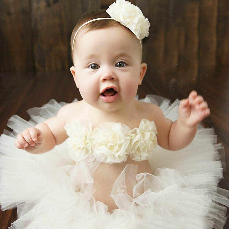 Keenommy princesa Petite Ruffles tutú conjunto de 3 piezas bebé tutús falda con diadema y tutú Top recién nacido niña foto Props TS068