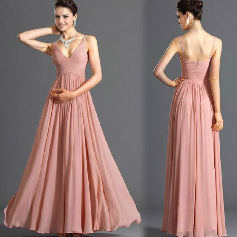 U-SWEAR 2019 New Arrival   Bridesmaid     Dress   V-neck Pink Chiffon   Dress   Sleeveless Slim A-Line Backless   Dress   Elegant Sexy Vestidos