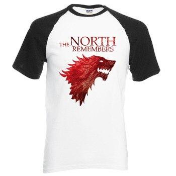 Game Of Thrones House Stark The North Remembers Men Raglan T Shirts 2019 Summer 100% Cotton Tops Tees Men's Short Sleeve Shirt