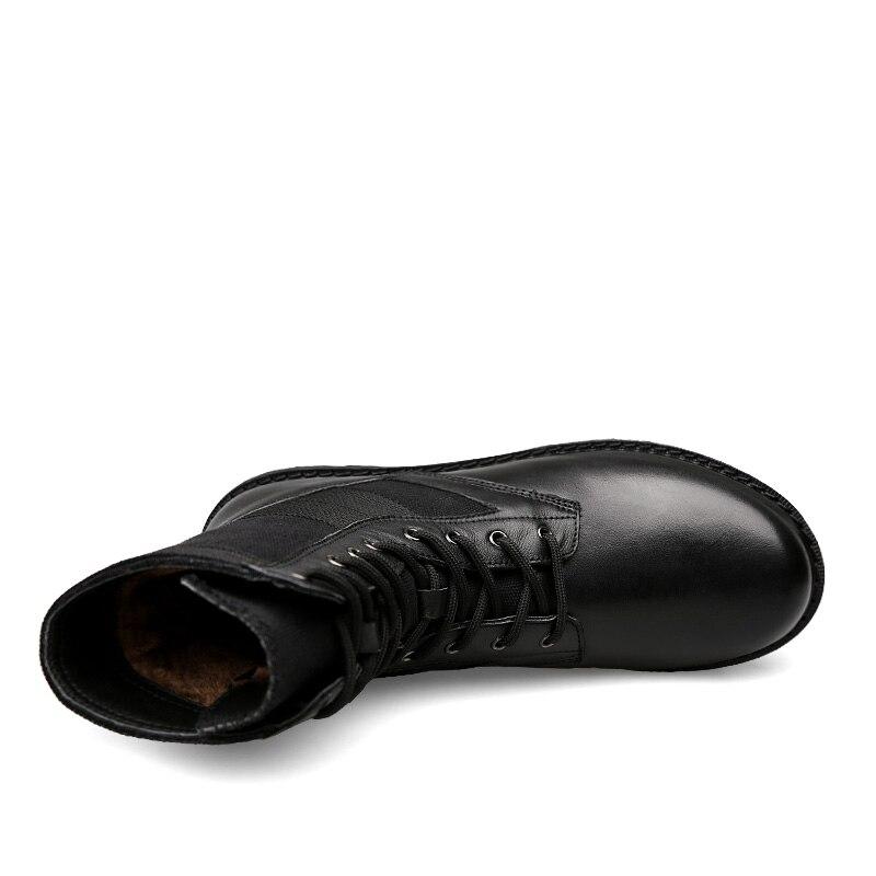 Chaud Neige Haute Plein Hommes Fourrure D'hiver Fur Bottes En Militar black Uexia Chaussures Grande Fur Taille Botas Caoutchouc No Air Qualité Tactique De Black Militaire Cuir PwwaOEq