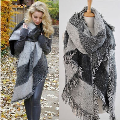 Wrap Shawl Plaid Scarf Wool-Blend Cashmere Warm Soft Winter Fashion Women Long