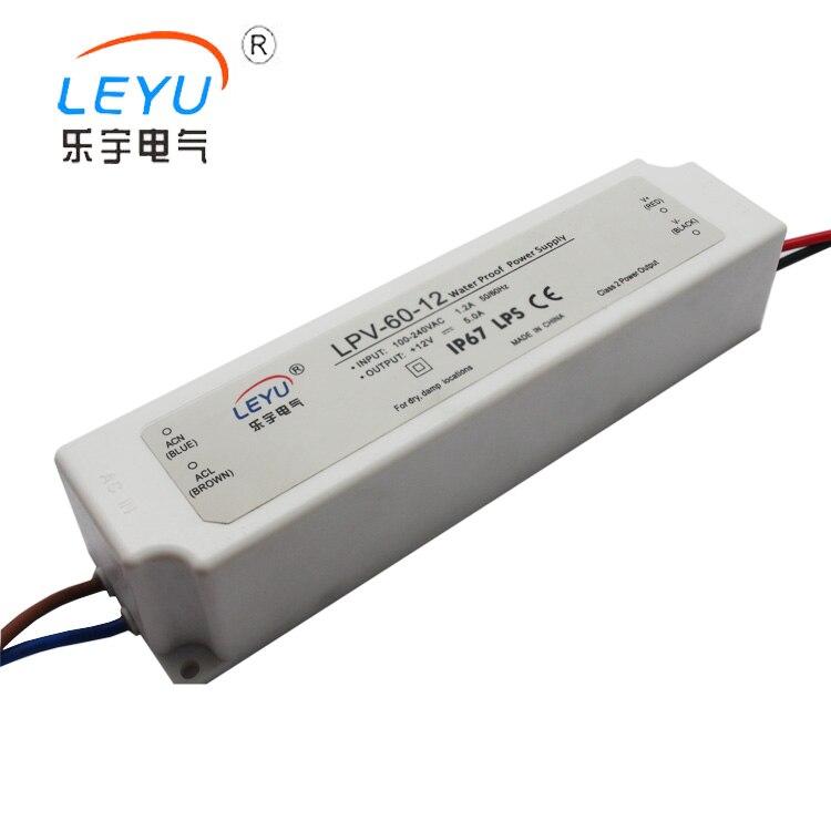 LPV-60-36 waterproof power transformer 60w 36v IP67 ac 90-264v input single output waterproof power supply meanwell 24v 35w ul certificated lpv series ip67 waterproof power supply 90 264v ac to 24v dc