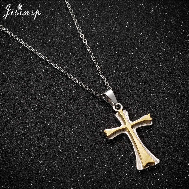 Jisensp Vintage Gothic krzyż długi naszyjnik łańcuch Christian wiara krzyż Charm naszyjnik dla kobiet mężczyzn świąteczna biżuteria upominkowa