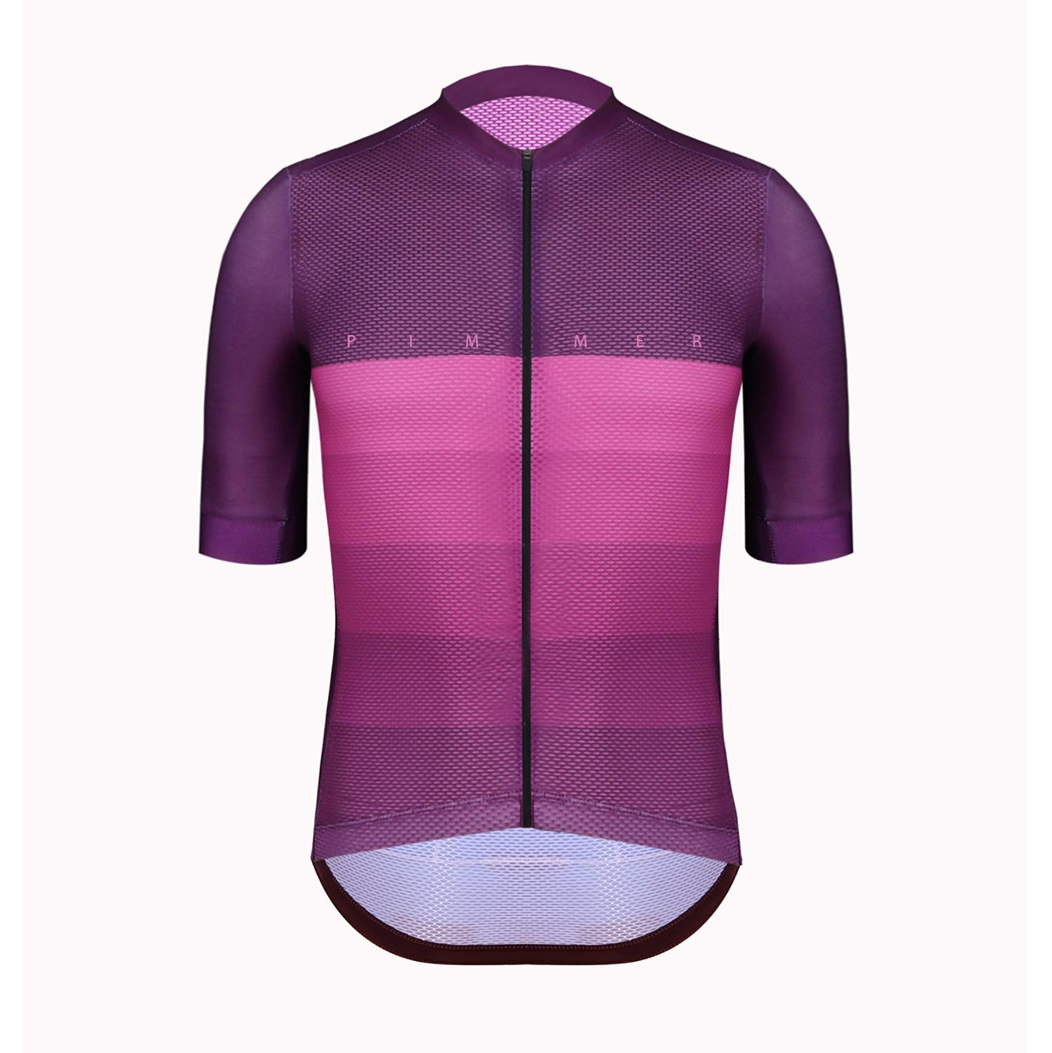 Cycling-Jersey Short-Sleeve Power-Band Italy Pimmer Climber Lightweight with Purp Mesh-Fabric