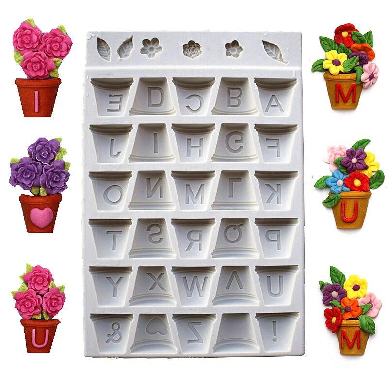 화분 편지 실리콘 케이크 금형, DIY 요리 케이크 금형, 케이크 장식 도구, 주방 액세서리 SQ1733