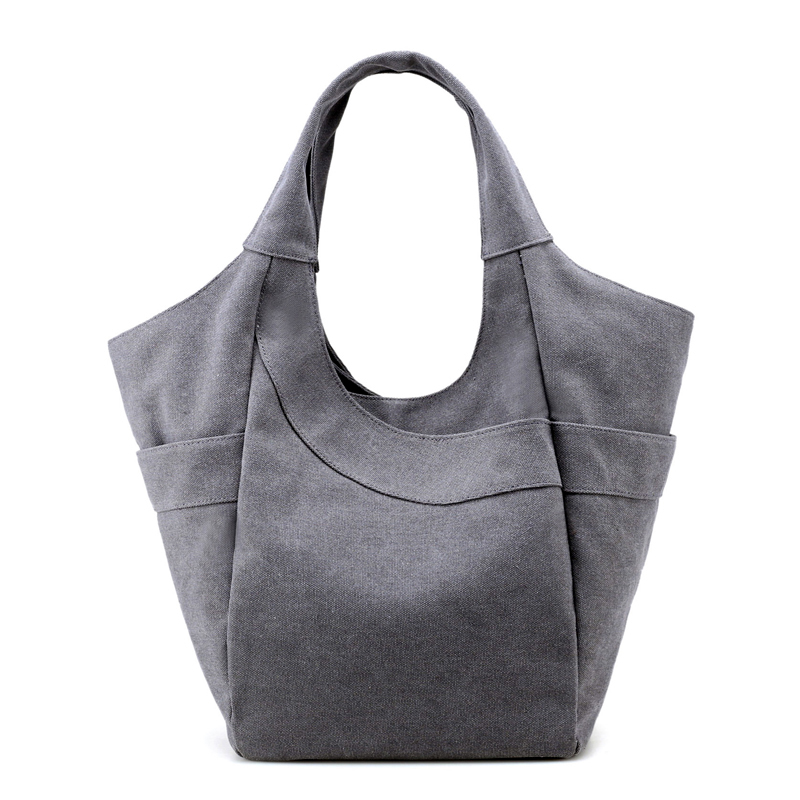 New Summer Big Capacity Casual Women Tote Bags Fashion Hobo Handbags Solid Quality Canvas Vintage Shoulder Beach Bag Grey Color