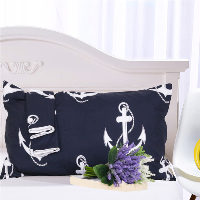 BeddingOutlet Anchor Bedding Set Queen Size for Kids Boy Bedclothes Dark Blue and White Duvet Cover Set Simple Bed Cover