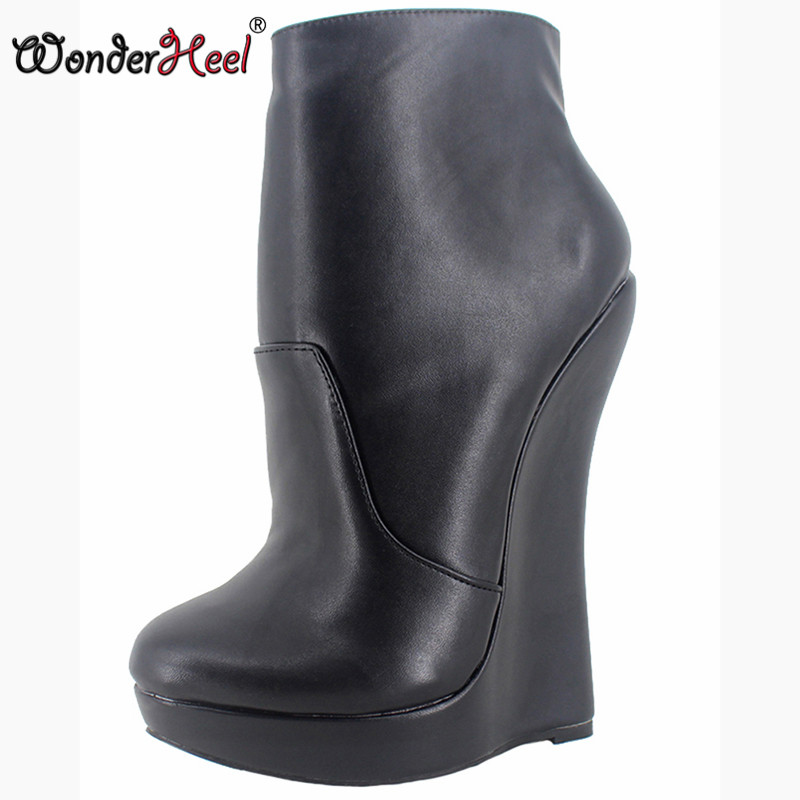 Wonderheel New matt leather extreme high heel 18cm with 3cm platform wedge ankle boots short boots