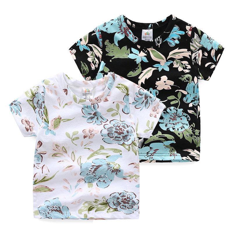 2019 Summer Casual New <font><b>2</b></font> 3-8 9 10 Years Baby Children'S Clothing Pure Cotton Little Kids Boys Short Sleeve Flower Floral T <font><b>Shirt</b></font> image