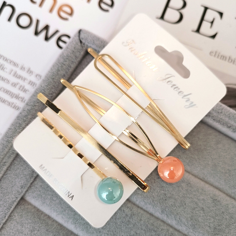 Купить с кэшбэком 4PCS Girls Hair Clips Fashion Metal Clips Hair Imitation Pearl Irregular Hairpin Women Hairpin Girls Accessories Hair