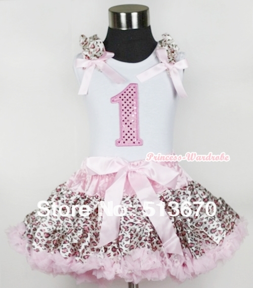 White Tank Top 1st Sparkle Light Pink Birthday Number with Light Pink Leopard Ruffles Bow Light Pink Leopard Pettiskirt MAMG439 white tank top with black rosettes leopard birthday cake with leopard ruffle page 4